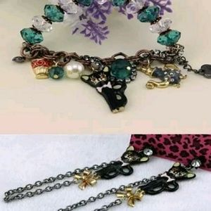 Betsey Johnson Jewelry - VINTAGE Betsey Johnson Cat bracelet and earrings
